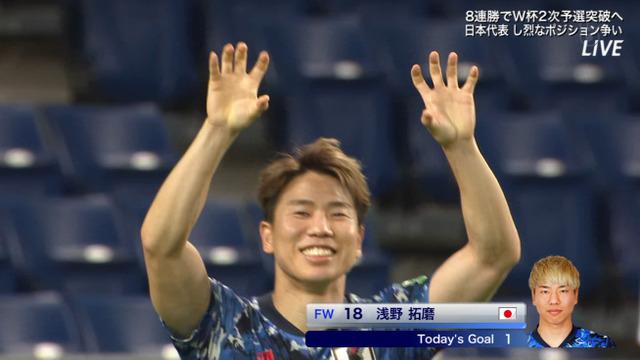 ◆速報◆W杯予選 日本×キルギス 後半32分 古橋のドリブルからのラストパスを浅野が蹴り込みジャガーポーズ 5-1
