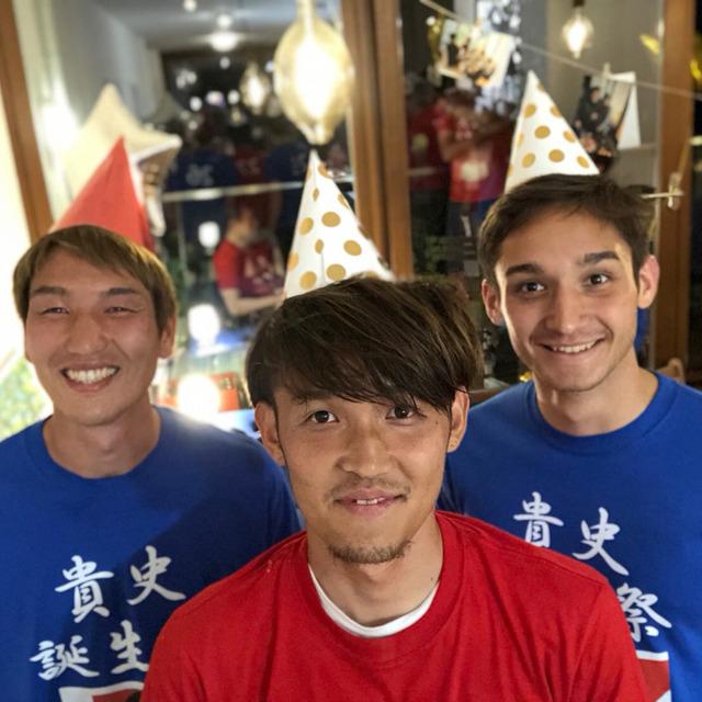 """◆朗報◆フォルトナの日本人3人集まって""""貴史誕生祭""""!!原口・宇佐美 ・金城がピザをぶつけ合うw"""