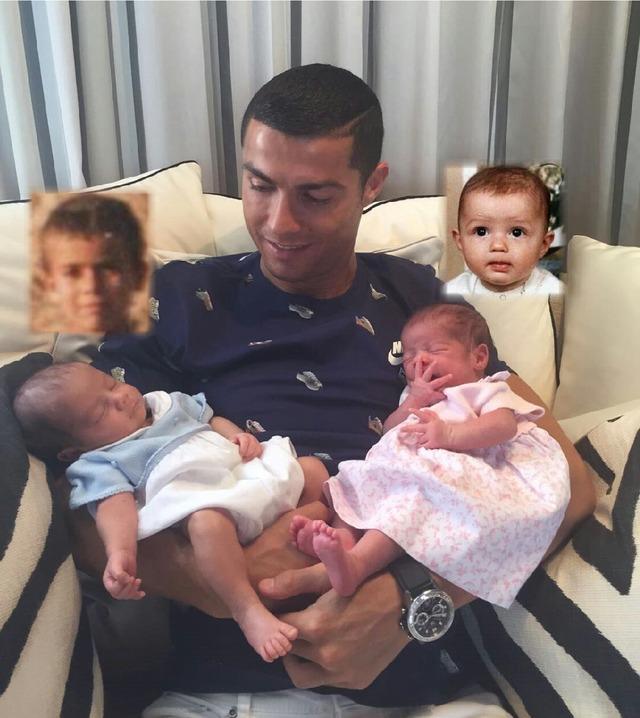 ◆画像◆クリスティアーノ・ロナウド 生まれたばかりの双子の実子を公開!