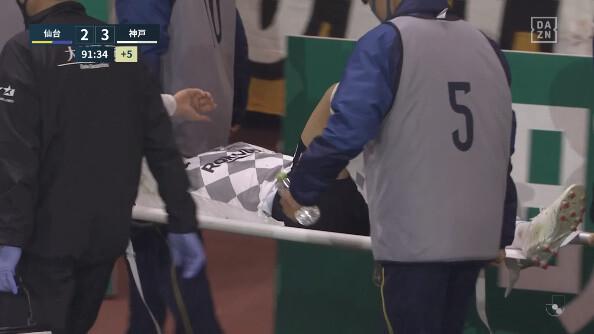 ◆悲報◆神戸FW古橋亨梧、ACLを前に仙台戦で膝を負傷し退場…重症か