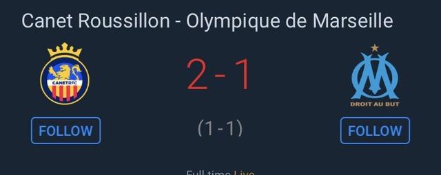◆悲報◆仏杯オリンピック・マルセイユ、4部カネルションに2-1で敗れる、長友フル、酒井後半頭から出場