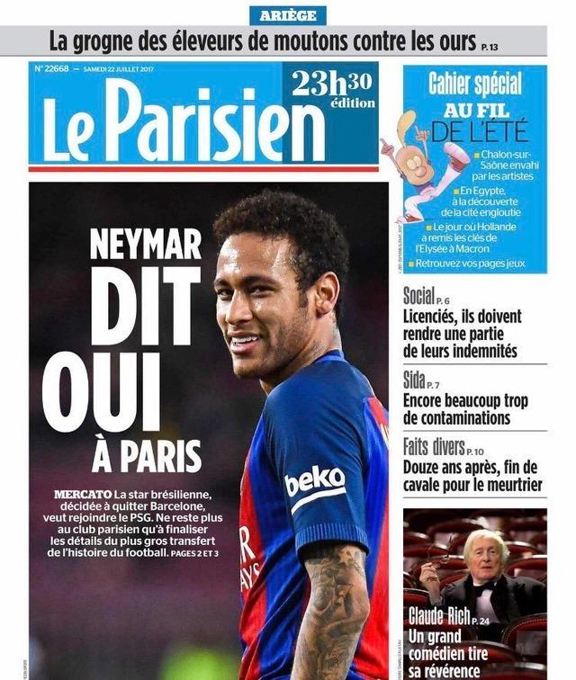 ◆リーガ◆ネイマール、PSG移籍で合意か?フランスメディア報じる 移籍金史上最高額の€220m年俸€52m