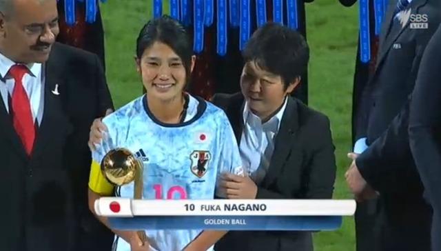 ◆朗報◆U17日本女子代表MF長野風花(浦和)がU17女子W杯ゴールデンボール賞(MVP)を受賞