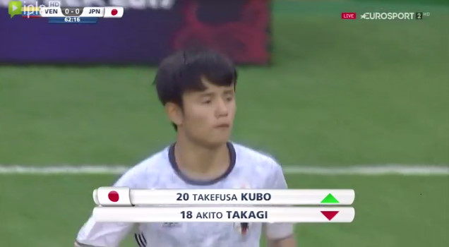 ◆U20W杯速報◆R16ベネズエラ×日本 後半17分久保健英登場!