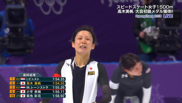 ◆平昌五輪◆高木美帆選手が銀メダル!! スピードスケート女子1500m 、日本メダル第2号(動画)