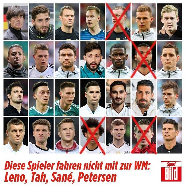 ◆ロシアW杯◆ドイツ代表23名発表!サネ、レノら4名が落選