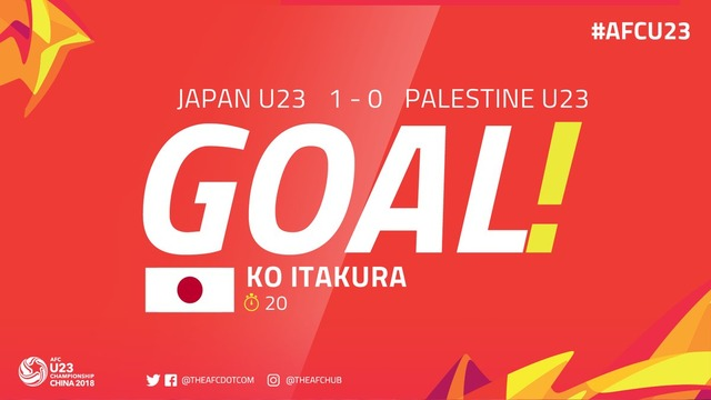 ◆AFC U23◆日本×パレスチナ 板倉滉の中央突破からのゴールで日本先制!