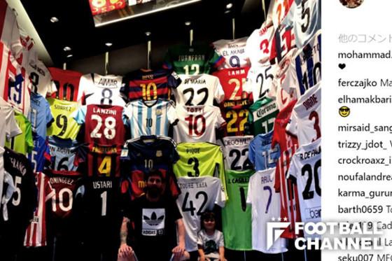 ◆画像◆メッシが超豪華「ユニフォームコレクション」を披露もレアル・マドリーの現役選手のなし!