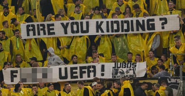 ◆UCL◆ドルサポテロの翌日開催決定のUEFAに激おこ!「なんの冗談?F**K UEFA」のバーナー掲げる
