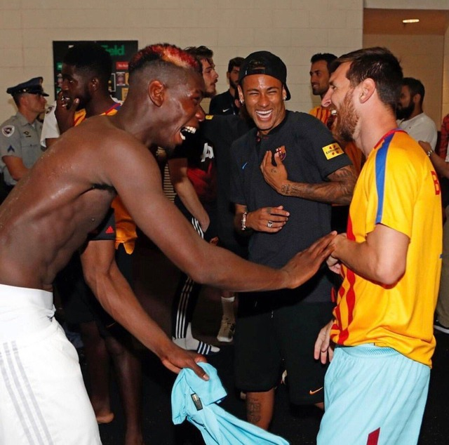 ◆画像◆ICC杯試合終了後ネイマールとメッシを爆笑させるAgentPことポール・ポグバwww