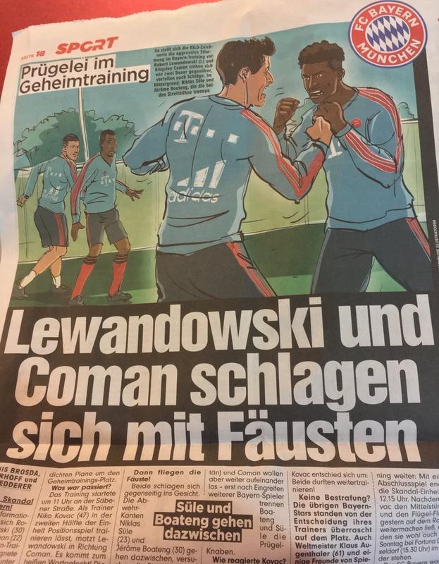 ◆悲報◆バイエルン、レバンドフスキとコマンが練習中に殴り合いの大喧嘩!