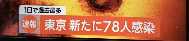 ◆速報◆東京都内新たな新型コロナウィルス感染者78名 過去最多…昨日の13名から激増