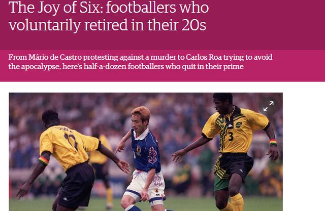 ◆海外報道◆中田英寿が!英紙が選ぶ「20代で自ら引退した価値あるサッカー選手6人」に