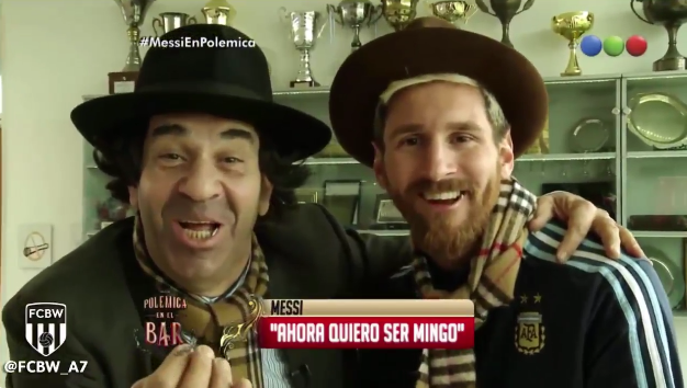 ◆動画小ネタ◆メッシがアルゼンチンのTVで10ガロンハット被って楊枝咥えた結果wwwww