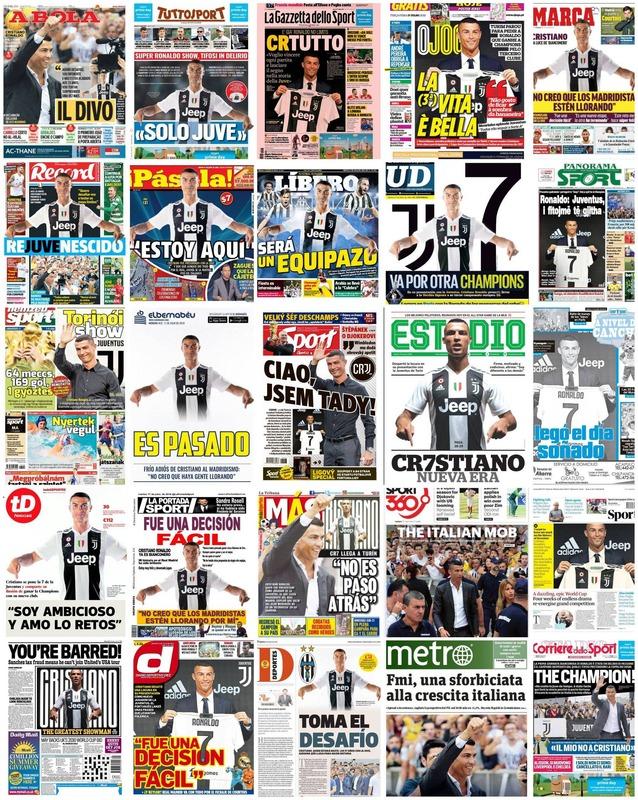 ◆画像◆ヨーロッパのスポーツ25紙が全部1面をロナウドに!なおヨーロッパにデイリーはない模様