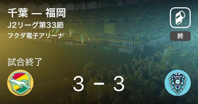 ◆J2◆33節 千葉×福岡がお約束すぎて草 船山ハットトリックも終了間際城後に同点弾浴びてドロー