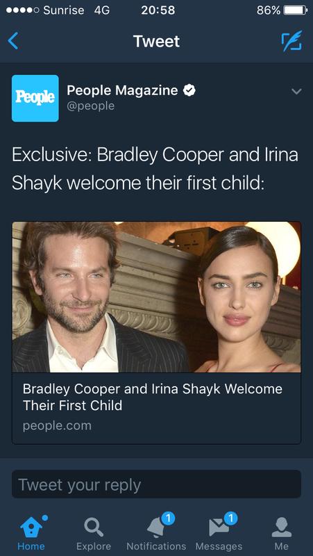 ◆朗報◆クリロナの元恋人イリーナ・シェイクと今彼ブラッドリー・クーパーに第一子誕生