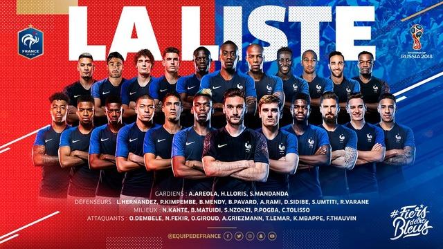 ◆ロシアW杯◆フランス代表23名発表!ポグバ、グリーズマン、ムバッペなど選出!コマン、ベンゼマ、コシェルニーなど落選
