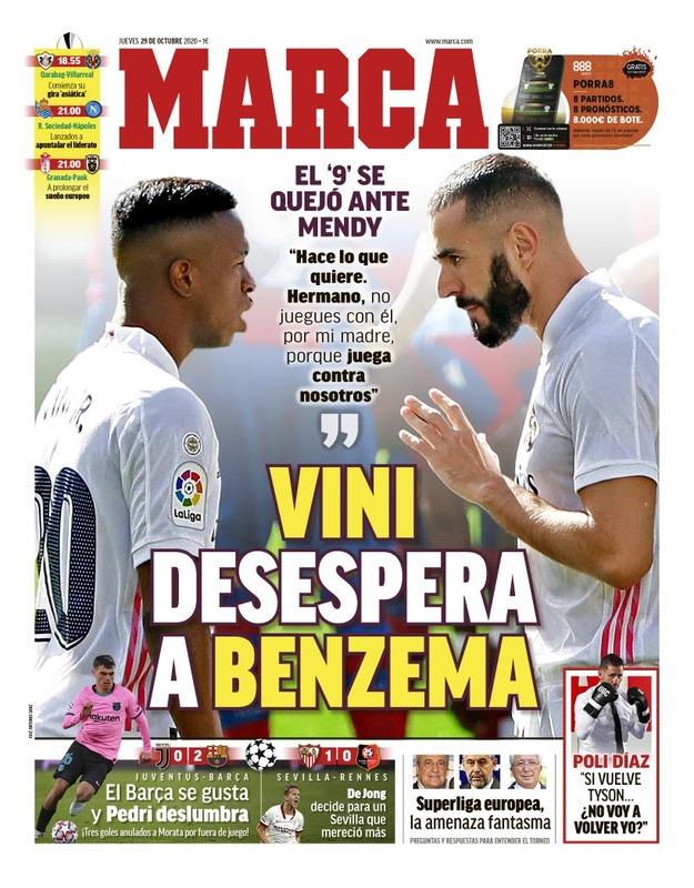 ◆悲報◆レアル・マドリーFWベンゼマ、ヴィニシウスの件スペイン紙一面、TV番組も大々的に報道(´・ω・`)