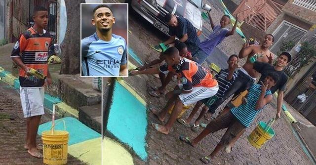 ◆画像◆マンCFWガブリエウ・ジェズスはわずか3年前ブラジルの裏通りで裸足でペンキ塗ってた
