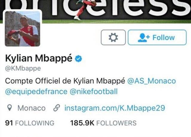 """◆リーグ・アン◆モナコの新星ムバッペ、自身のSNSプロフィールから""""@AS_Monaco""""を消去!移籍決定か?"""