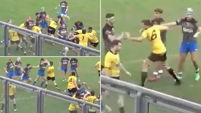 ◆悲報◆フランスラグビーで前代未聞の乱闘シーン!両チーム30人以上ほぼ全員が殴り合い!