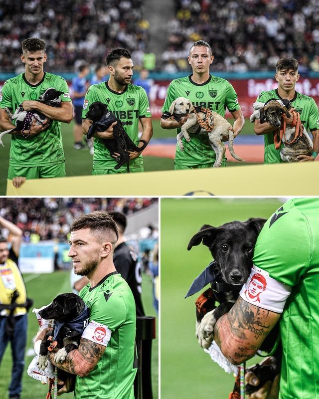 ◆小ネタ◆ディナモ・ブカレスト(ルーマニア)の選手が全員野良犬を抱いて入場してきて草