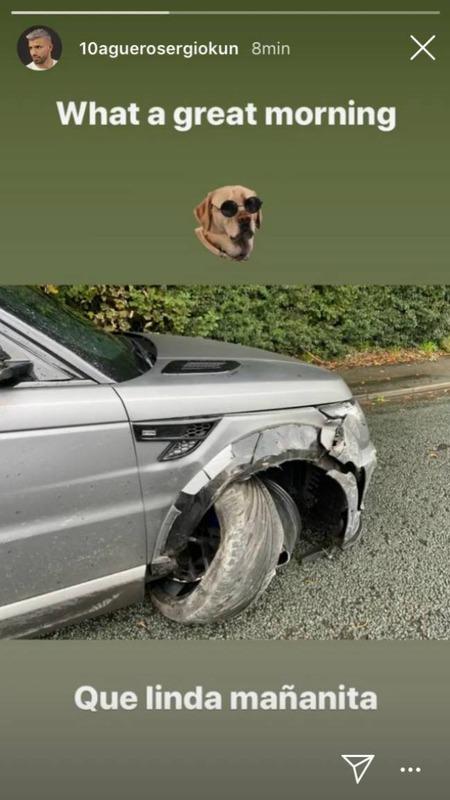 """◆不幸中の幸い◆マンCFW""""クン""""・アグエロが自動車事故、直後に呑気に壊れた車をUPして何故か嬉しそうwww"""