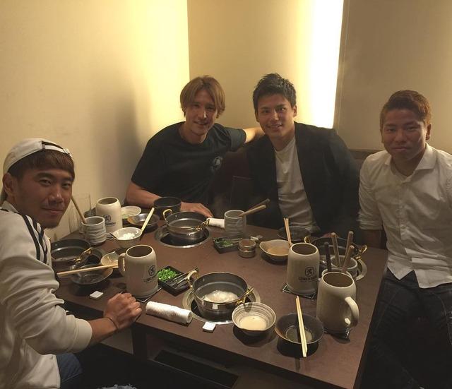 ◆画像◆香川真司とジャガー浅野、宮市亮、細貝萌がお食事会!