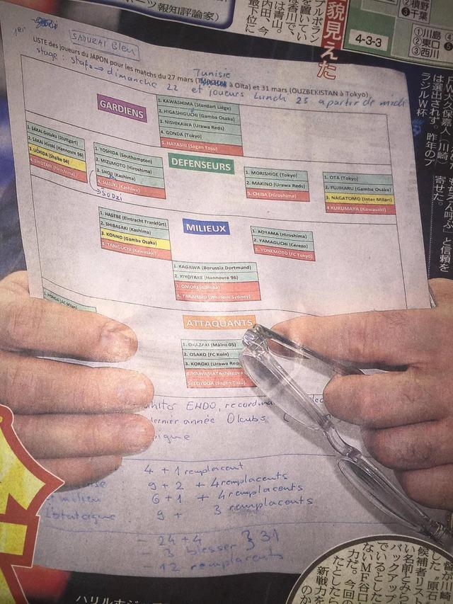 ◆代表小ネタ◆ハリルホジッチの手元メモで布陣と序列全貌見えた?
