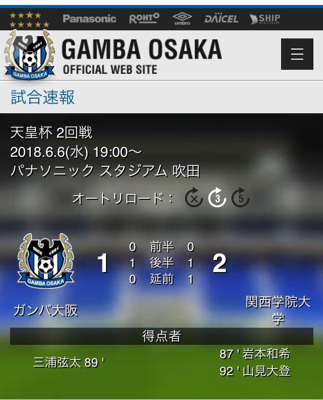 ◆悲報◆ガンバ大阪、天皇杯2回戦で関西学院大学にゴラッソ決められ破れる