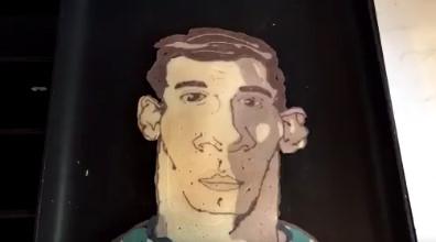 ◆動画小ネタ◆パンケーキで作ったメッシの似顔絵上手すぎワロタwwww