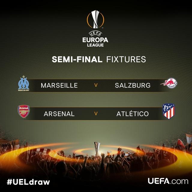 ◆UEL◆組合せ抽選結果、EL準決勝で日本人対決! アーセナル対アトレティコの優勝候補対決も