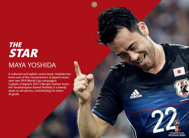 ◆W杯◆FIFA公式サイトが出場32ヶ国を紹介。日本の「スター選手」に選ばれたのは…もちろん…