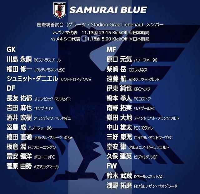 ◆日本代表◆鈴木優磨、中島翔哉今回も呼ばれず…大迫はチーム事情で呼ばれず