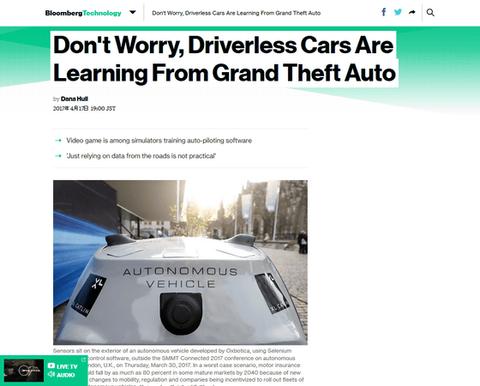 自動運転車Iはゲームソフト『グランド・セフト・オート』の中で運転技術を学んでいる