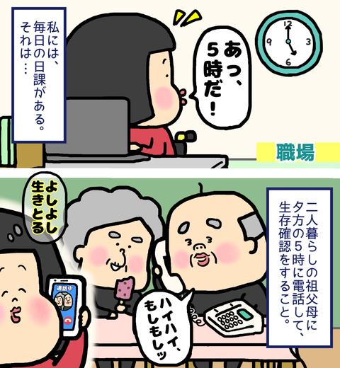 祖父母への生存確認の電話