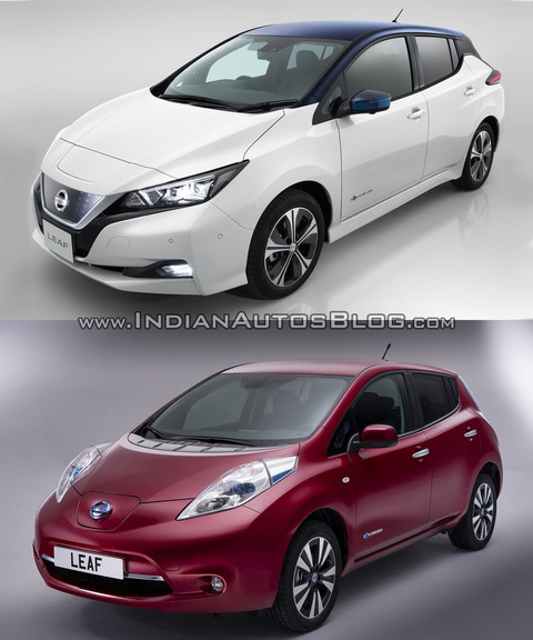 2018-Nissan-Leaf-vs_-2014-Nissan-Leaf-front-three-quarters