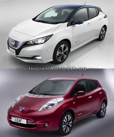 2018-Nissan-Leaf-vs_-2014-Nissan-Leaf-front-three-quarters