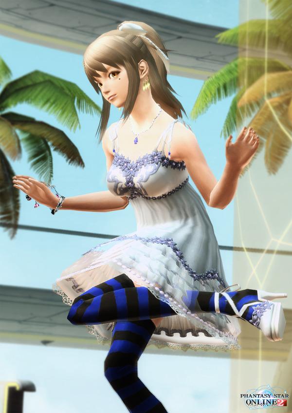 エアリーサマードレス 縞タイツ青