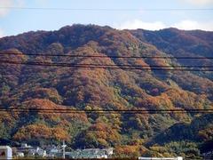 色づく生駒山