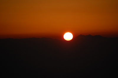 北アルプスの夕陽