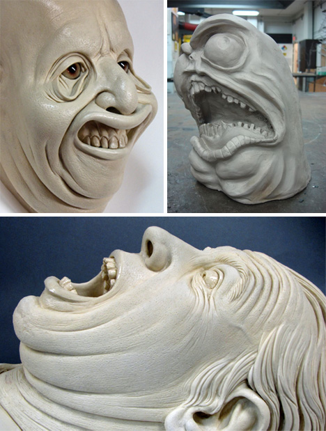 Creepy-Face-Sculptures
