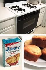 家のオーブンJIFFYの激安マフィンミックス、初めて焼いたマフィン♪