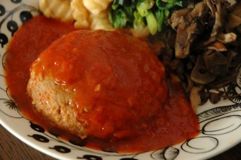 熟トマトソースハンバーグ