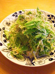 蒸し鶏と水菜のスパイシーサラダうどん