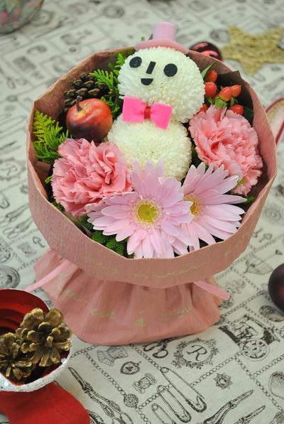 日比谷花壇 クリスマス&お正月フラワーギフトサロン 6 そのまま飾れる『雪だるまブーケ』&『キャンドルアレンジ』