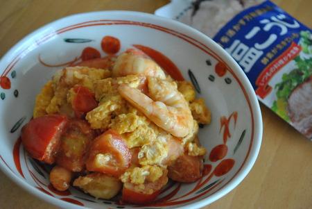 塩こうじ+中華風エビと卵の炒め物