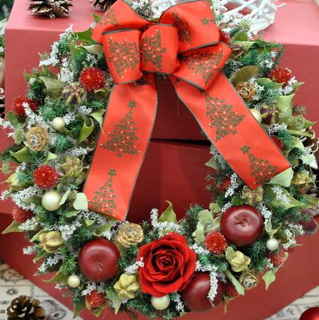 日比谷花壇 クリスマス&お正月フラワーギフトサロン 2 ナチュラルドライフラワーのXmasリース&ツリー