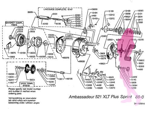 ABU ambassadeur 521 XLT Plus Sprint schematic パーツリスト